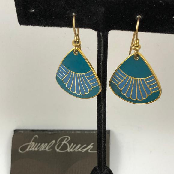 Laurel Burch Jewelry - Vintage Burch Enameled Enamel Water Fall Earrings